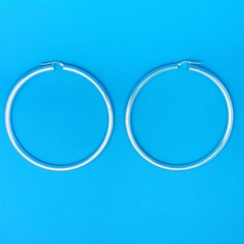 Genuine 925 Sterling Silver Large Heavy Creole Tube Hoops 60mm x 4mm